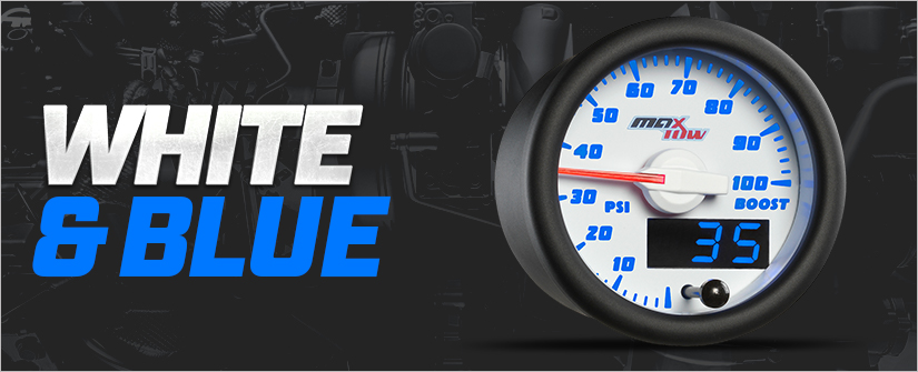 White & Blue MaxTow Double Vision Gauge Series