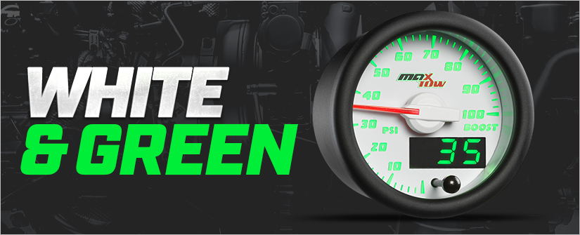 White & Green MaxTow Double Vision Gauge Series
